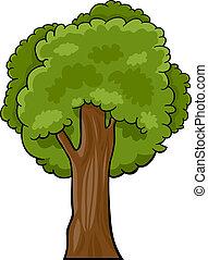caricatura, ilustração, de, árvore decídua