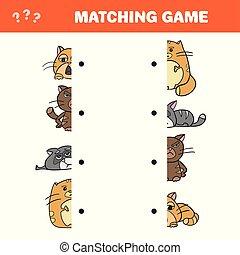 caricatura, ilustração, de, educacional, jogo, de, combinar, metades, de, gato, caráteres