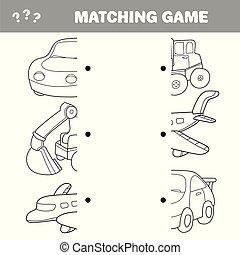 caricatura, ilustração, de, pré-escolar, educação, atividade, com, combinar, metades, jogo