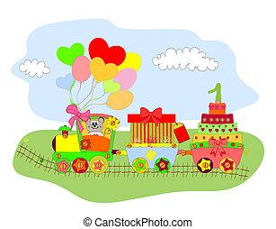 caricatura, ilustração, de, trem, com
