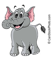 caricatura, ilustração, elefante