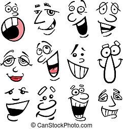 caricatura, ilustração, emoções