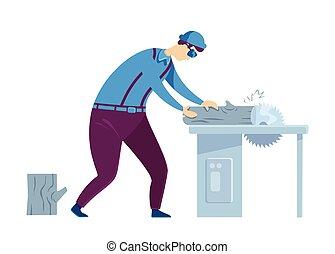 caricatura, ilustración, artesano, hogar, character., color, machinery., saw., circular, woodwork., aislado, trabajo, vector, reparaciones, carpintero, eléctrico, handyworker, constructor, plano, process., hombre, faceless
