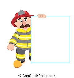 caricatura, ilustración, bombero