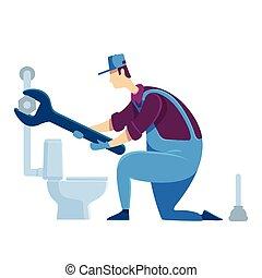 caricatura, ilustración, casa casa, character., color, pipeline., toilet., improvement., especialista, factótum, handyperson, aislado, plomero, vector, reparaciones, wrench., plano, fijación, faceless