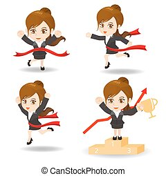 caricatura, ilustración, competitivo, hombre de negocios