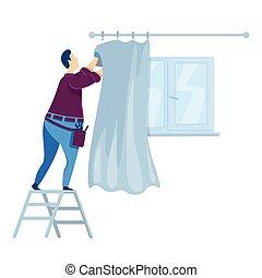 caricatura, ilustración, curtains., casa casa, character., color, ahorcadura, interior, improvement., tipo, handyperson, aislado, decorating., ventana, vector, reparaciones, plano, hombre, drapery., faceless