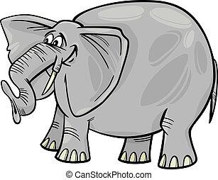 caricatura, ilustración, elefante