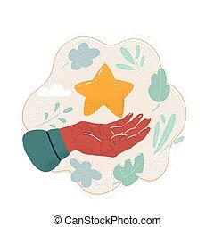 caricatura, ilustración, manos, estrella, tenencia, mano.