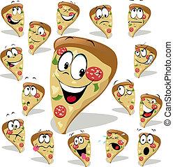 caricatura, ilustración, pizza