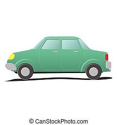 caricatura, ilustración, sedan.