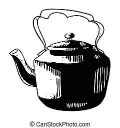 caricatura, imagem, de, antigas, pretas, chaleira