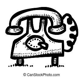 caricatura, imagem, de, telefone, ícones, set., telefone, símbolos