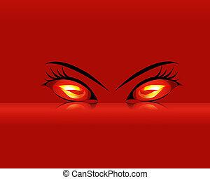 caricatura, inflamatório, mal, olhos