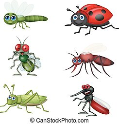 caricatura, insecto, colección, conjunto