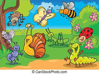 caricatura, insectos, en, el, pradera