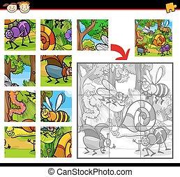 caricatura, insetos, quebra-cabeça, jogo