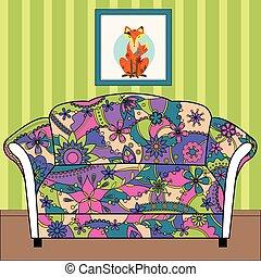caricatura, interior, con, sofá, pintado, colorido, silueta