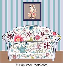 caricatura, interior, con, sofá, pintado, vendimia, silueta