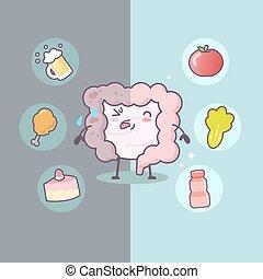 caricatura, intestino, insalubre, saudável