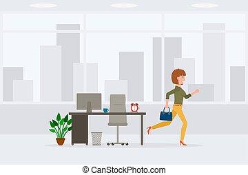 caricatura, ir, rapidamente, adulto, personagem, dia, lar, amarela, expedir, jovem, em movimento, fim, illustration., escritório, executando, calças, vetorial, afastado, mulher