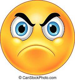 caricatura, irritado, smiley, emoticon