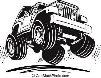 caricatura, jeep