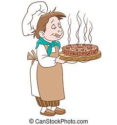 caricatura, jefe, cocinero, con, un, pizza, o, pastel