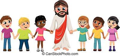 caricatura, jesús, tomados de la mano, niños, niños, aislado
