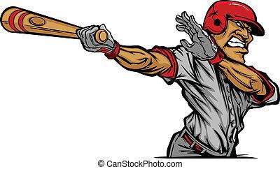 caricatura, jogador basebol, balançando, ba