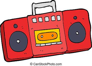 caricatura, jogador cassete rádio