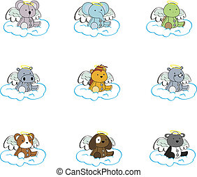 caricatura, jogo, anjo, pack2, animal