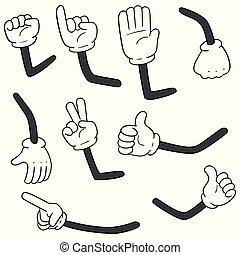 caricatura, jogo, braços, vetorial