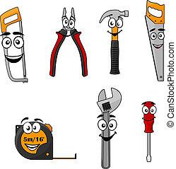 caricatura, jogo, ferramentas, diy, mão
