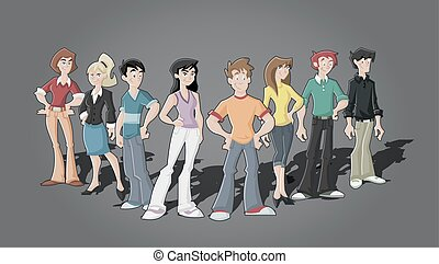 caricatura, jovens