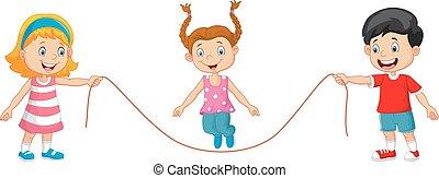caricatura, juego, cuerda de saltar