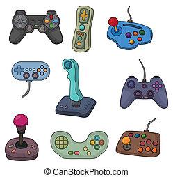 caricatura, juego, palanca de mando, icono, conjunto