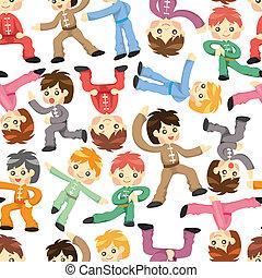 caricatura, kung fu, chinês, ícone
