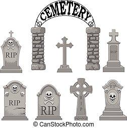 caricatura, lápidas, colección, conjunto