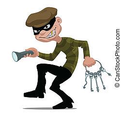 caricatura, ladrão