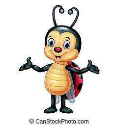 caricatura, ladybug, posar