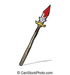 caricatura, lanza, sangriento