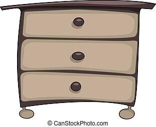 caricatura, lar, mobília, peito gavetas