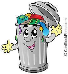 caricatura, lata lixo