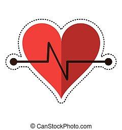 caricatura, latido de corazón, condición física, símbolo