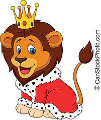 caricatura, leão, em, rei, equipamento