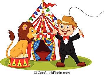 caricatura, leão, sentando