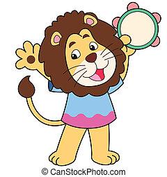 caricatura, leão, tocando, um, tambourine