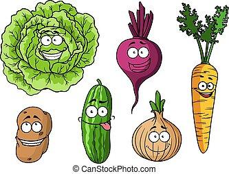 caricatura, legumes frescos, jogo