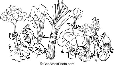 caricatura, legumes, para, tinja livro